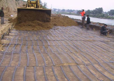 चीन High Intensity PP Plastic Uniaxial Geogrid 25KN/M for Retaining Wall फैक्टरी