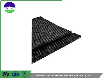 चीन 50KN/M Warp Knitting Polyester Geogrid Grey for Asphalt Wall / Runway वितरक